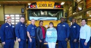 Vance County Schools Transportation Department from left, Tyler Duncan, Bryan Smiley, R.C. Creech, Petronia Hicks, Kimberly Crews, Jimmy Waverly, Bobby Jones and Clay Owen, department director.