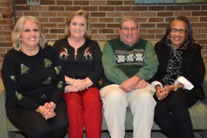 """Among the most recent VGCC retirees honored Dec. 17, 2015, were, seated from left, Carolyn Ayscue of Henderson, Glenda Bowman of Henderson, Philip Mondou of Raleigh and Vivian Smith of Norlina. Not pictured: retirees Phyllis """"Button"""" Brady, Wendy Frandsen, Dana Jenkins and Herbert Washington. (VGCC photo)"""