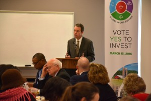 Dr. Marshall Stewart of N.C. State University discusses the Connect NC bond referendum during a meeting at VGCC's South Campus. (VGCC photo)