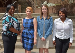 VGCC students from Vance County who were inducted into the Phi Theta Kappa honor society on April 19 included, from left: Emory Gant-Hawkins, Jennifer Burns, Harli Sams and Hayya Wright. (VGCC Photo)