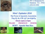 Word Explosion 2016 May 25, 26 and 27th, 2016