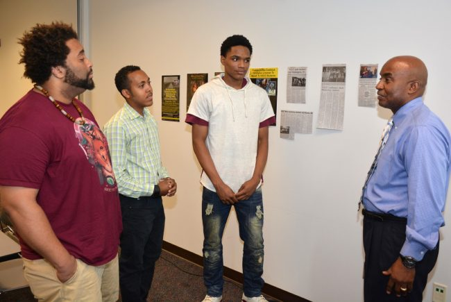 "From left, returning VGCC students Johnathan Williamson of Oxford, Christopher Ford of Manson, and Zion Copeland of Henderson talk with VGCC Male Mentoring Success Initiative coordinator Anthony Pope about becoming ""peer mentors"" this year. (VGCC photo)"
