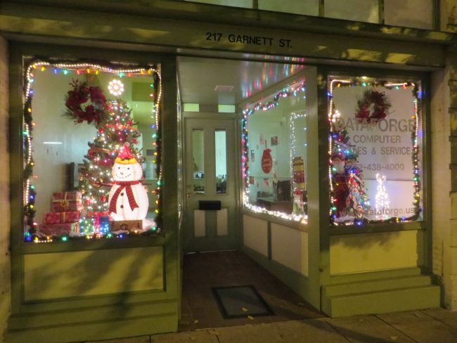 Dataforge in downtown Henderson, NC decorated for Christmas