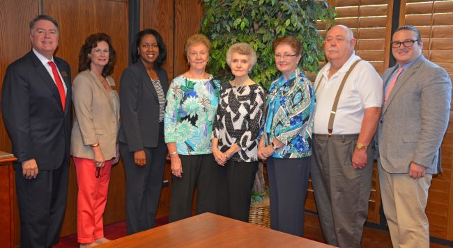 From left, VGCC Endowment Director Eddie Ferguson, Endowment Specialist Kay Currin and President Dr. Stelfanie Williams, with church representatives Ruth Breedlove, Kay Kittrell, Janice Stovall, Donald Clayton and Pastor Lee Miller. Stovall is the church treasurer, while Clayton is the lay leader. (VGCC photo)