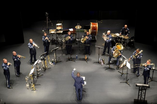 Members of the U.S. Air Force Heritage of America Band Heritage Brass ensemble play a set at the Paramount Theater, Nov. 5, 2015, in Goldsboro, North Carolina. Each year, the band's ensembles perform more than 300 concerts along the East Coast. (U.S. Air Force photo/Airman 1st Class Ashley Williamson)