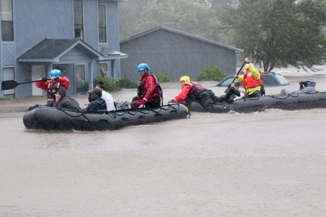 Swift water rescue teams, working for local emergency services, evacuate victims of the flooding caused by Hurricane Matthew in Fayetteville N.C., Oct. 08, 2016. Heavy rains caused by Hurricane Matthew have led to flooding as high as five feet in some areas.  https://www.flickr.com/photos/ncngpao/29675868303/
