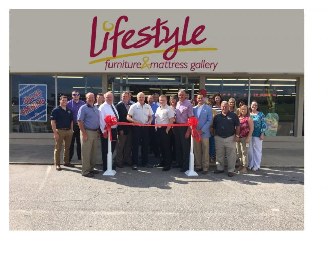 Shown at the Henderson-Vance Chamber of Commerce ribbon cutting for Lifestyle Furniture and Mattress Gallery are, Ernie Thompson, Robert Smith, Wayne Smith, Roger Sparks, Austin Smith, Connie Thompson of Lifestyle; Donald James, Ashley Furniture; Scott Burnett, CCB of Henderson; Mayor Eddie Ellington; HVCC President John Barnes; Chamber Ambassador Tonya Moore, KARTS; Chamber Ambassador Kevin Bullock, WIZS 1450 Radio; Desiree Brooks, Stephanie Ranes and Diane Robbins, The Daily Dispatch;. Not Pictured: HVCC Director of Membership Services, Annette Roberson.
