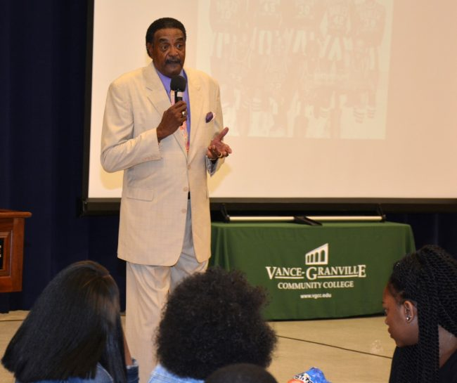 "Former Harlem Globetrotter ""Legend"" James ""Twiggy"" Sanders addresses approximately 200 Vance County Early College High School students in the VGCC Civic Center. (VGCC photo)"
