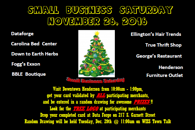 Small Business Saturday 2016 Signature Card (Design:   Pamela Jordan)