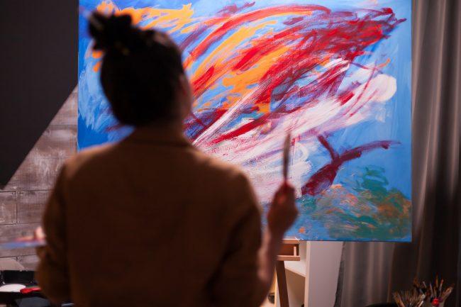 Painter in art workshop